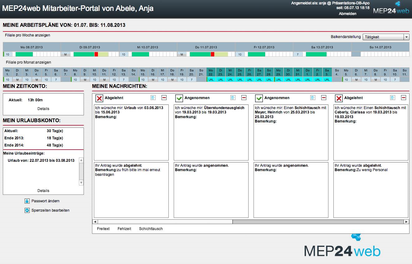 MEP24web Online-Mitarbeiterportal